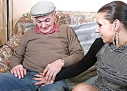 Old gangbangers' dicks make younger brunette in stockings moan of painful pleasure drilling her mouth and pussy