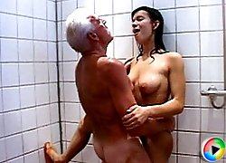 Girl visits the male shower