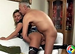 Naughty blonde fucked by a senior