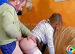 Naughty schoolgirl goes skiing on two old cocks and ends up getting double-fucked by her horny ex-teachers
